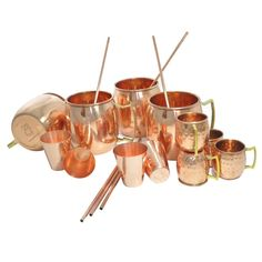 DakshCraft ® Solid Pure Copper Coaktail Moscow Mule Mug (Capacity 17 oz per mug) with Free Beer/Cocktail Copper Shot Mugs (Capacity - 2.46 oz per shot mugs),Wine/Vodka Copper Shot Glasses (Capacity - 2.46 oz per glasses) & Copper Straw, Set of 4, (4 Copper Hammered Mugs, 4 Copper Shot Mugs, 4 Copper Shot Glasses & 4 Copper Straw): Amazon.com: Home & Garden