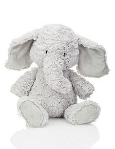Grey Mix Vintage Style Elephant Soft Toy