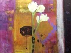 Amaryllis Blanc.  Mixed water based media. 61x81 cms (Russell Gallery, Putney. London)