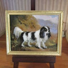 Miniature Dollhouse Dog Oil Painting by Ellen Tomey