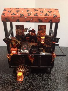 Dollhouse miniature Halloween peddlers cart