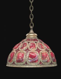 "** Tiffany Studios, New York, Favrile Leaded Glass and Patinated Bronze ""Turtleback"" Lamp."