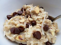 Almond Joy Oatmeal  serves 1  1/2 C old fashioned oats  1 C unsweetened, vanilla almond milk (I use Almond Breeze)  2 T shredded coconut, unsweetened  2 T sliced almonds  2 tsp dark chocolate chips  Pinch of salt    Prepare the oats according to your favorite method, stove top or microwave. Once cooked, stir in the coconut, almonds and salt and top with chocolate chips