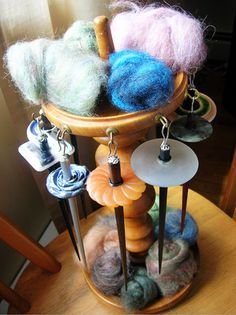 drop spindle storage and display. Cool idea!