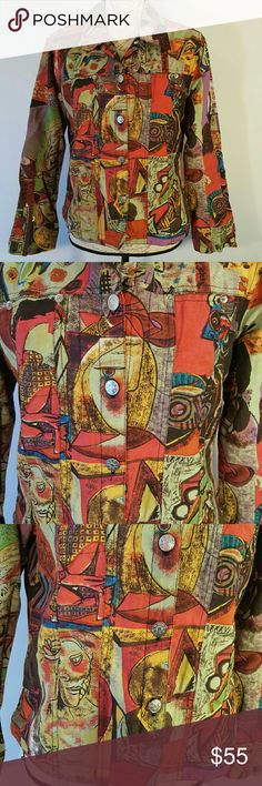 Mirror Image Unique M Linen Cotton Top Faces Art This is a Mirror Image brand top. Cardigan, long sleeve shirt, button down. Size M.  50% linen, 50% cotton and 100% Polyester. 🐘 nonsmoking home Mirror Image Tops Button Down Shirts