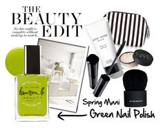 """Spring Mani: Green Nail Polish"" by magic-pudding ❤ liked on Polyvore featuring beauty, Lauren B. Beauty, Henri Bendel, NARS Cosmetics, Givenchy, Shiseido and greennails"