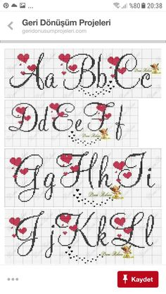 Letras p d cruz Cross Stitch Letter Patterns, Cross Stitch Letters, Just Cross Stitch, Cross Stitch Heart, Simple Cross Stitch, Cross Stitch Designs, Stitch Patterns, Filet Crochet, Cross Stitching