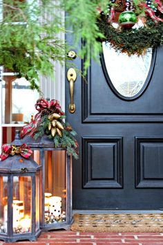 The huge lanterns are awesome...Dimples and Tangles: CHRISTMAS 2014 HOME TOUR {BLOGGER STYLIN' HOME TOURS}