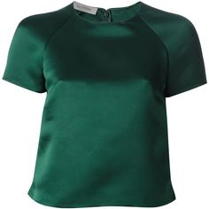 VALENTINO satin top (95.060 RUB) ❤ liked on Polyvore featuring tops, blouses, shirts, valentino, blusas, short sleeve blouse, green satin blouse, satin blouse, valentino blouse and short sleeve shirts