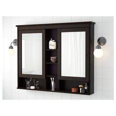 Ikea Hemnes Mirror Cabinet With 2 Doors Black Brown Stain