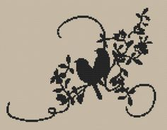 Silhouette Two Birds Counted Cross Stitch Pattern by SimpleSmart