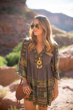 Julia Engel wearing our statement vintage tassel necklace, Boho leather cute bag and mini dress #tunicsforwomenbohochic
