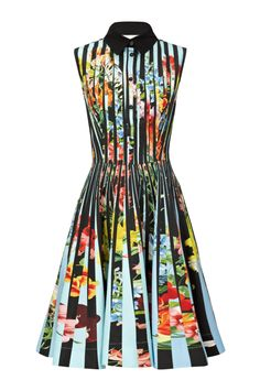 I like this from Mary Katrantzou Online... Vertical stripes of turquoise and optical floral combine to create a flattering silhouette for the Mary Katrantzou Dew Dress