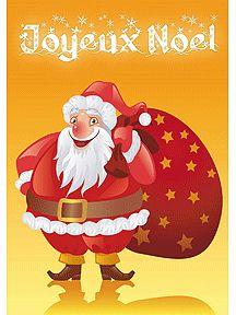 Carte de vœux joyeux noël avec le père noël et son gros sac sur le dos, à imprimer