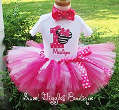 Minnie Mouse 1st Birthday Outfit in Hot Pink and Zebra is Perfect for Minnie Mouse Themed Birthday Party on Etsy, $54.95