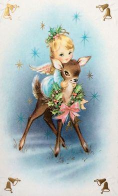 Sweet Little Angel Riding Adorable Deer Pink Bow Vintage Christmas Greeting Card Vintage Christmas Images, Merry Christmas Card, Christmas Deer, Christmas Past, Retro Christmas, Vintage Holiday, Christmas Greeting Cards, Christmas Pictures, Christmas Angels