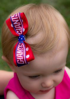 NY Giants Hair Bow with AntiSlip Clip by robynperlmandesigns, $3.00