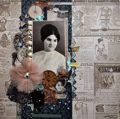 Mother ~ A sepia toned vintage ad background and a dramatic dimensional collage border puts all the emphasis on a strong b/w portrait in this heritage page.