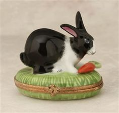 Limoges Black and White Rabbit on Grass with Carrot Box The Cottage Shop