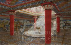 Pylos, Southern Greece, The Megaron (Throne Room) in Mycenean Royal Palace, 1250 BC - Archaeology Illustrated