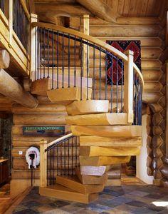 32 Best Log Stairs Design Images Wooden Ladders Log Homes Spiral