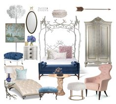 """Fairy Tale Luxe"" by leiastyle ❤ liked on Polyvore featuring interior, interiors, interior design, home, home decor, interior decorating, Slamp, Kristin Drohan Collection, David Jones and Barclay Butera"