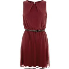 Burgundy Chiffon Belted Dress (€28) ❤ liked on Polyvore