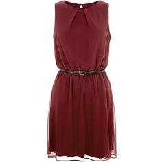 Burgundy Chiffon Belted Dress (€28) ❤ liked on Polyvore