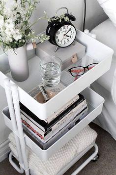 IKEA storage cart #ikea #ikeahack #cart #storage #bedsidetable #nightstand #alarmclock #flowers #bedroom #apartment #homedecor #diydecor #cart #ad #az