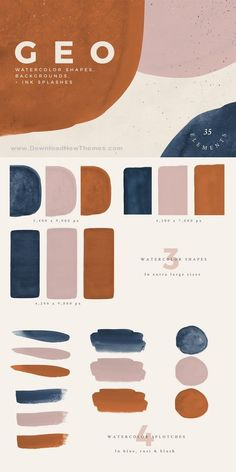 Abstract Shapes - Rust, Navy & Blush: Hand-painted #watercolor shapes, backgrounds, and ink splashes. Perfect for print and web projects such as wedding invitations, branding, greeting cards, and many other uses. Create your own compositions or use any of the six pre-made backgrounds to get started. #graphics #designer #Textures #background