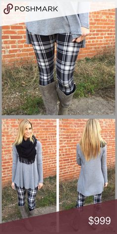 COMING BLACK & WHITE PLAID LEGGINGS  BLACK & WHITE PLAID KNIT LEGGINGS SUPER CUTE, COMFY & SOFT!! MATERIAL IS 92% POLYESTER & 8% SPANDEX  ONE SIZE FITS SIZES 2-12 COMFORTABLY  WILL GO GREAT WITH SEVERAL DIFFERENT TOPS ALSO AVAILABLE IN MY CLOSET CREATE A BUNDLE & SAVE 20%             WILL DROP PRICE WHEN THEY ARRIVE  Infinity Raine Pants Leggings