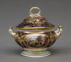 Tureen with cover and stand (part of a service) Crown Derby Date: ca. 1815–30 Culture: British, Crown Derby Medium: Bone china