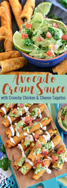 Creamy avocados, a little sour cream, and a whole lot of cilantro create a dreamy AVOCADO CREAM SAUCE that pairs perfectly with Extra Crunchy Chicken and Cheese Taquitos, for an after-school snack, party appetizer or meal.