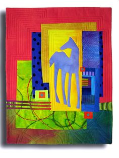 Blue Pony by Melody Johnson Quilts, via Flickr note how the layers add elements--fences barns, whatever