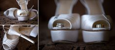 Wedding rings with brides shoes