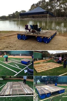 how to build a transportable pontoon raft out of old pallets and 55 gallon plastic drums..