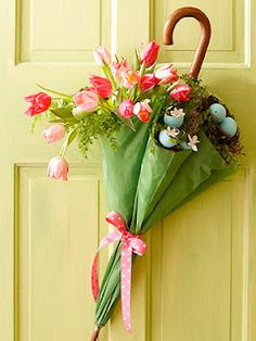 Beautiful Spring Door Decor! I love this!