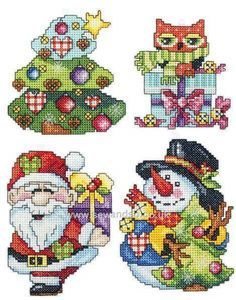 Cross Stitch Kits Plastic Canvas Christmas Ornaments, Set of 4 Cross Stitch Kit Xmas Cross Stitch, Cross Stitch Cards, Cross Stitching, Embroidery Kits, Cross Stitch Embroidery, Cross Stitch Designs, Cross Stitch Patterns, Stitch Toy, Christmas Cross