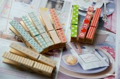 Paper covered clothespins for my banners & pennants & garlands...oh my!