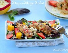 Salad with Greens, Fruits, Pecans, Grilled Chicken Recipe - RecipeChart.com