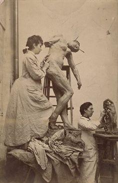 Camille Claudel and Jessie Lipscomb in their Paris studio (1887) British sculptor Jess Lipscomb moved to Paris to live with Camille Claudel – both were taught by Auguste Rodin Photograph: William Elborne/Musée Rodin, Paris