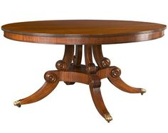 Regency Style Pedestal Round Dining Table   Traditional, MidCentury  Modern, Transitional, Wood, Dining Room Table by The Federalist