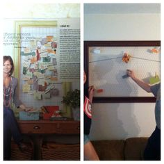 Saw this idea in a magazine, fun family project.  Repurposed an old frame, using chicken wire and staples (an duct tape to keep the wall safe from scratches) using paint sample cards & clothes pins, we can each add a daily gratitude.