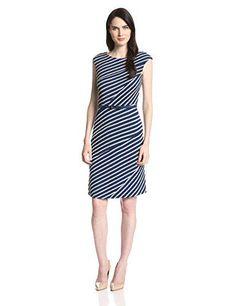Anne Klein Women's Cap Sleeve Striped Swing Dress, Indigo/Ash