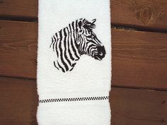 Zebra Silhouette Embroidered bath hand towel. by PJSEMBROIDERY, $11.00
