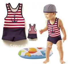 2011 Baby Swimsuit Bathing Suit Children Boy Swimsuit Sailor Design Wholesale Free Shipping-in Swimwear from Apparel & Accessories on Aliexp...