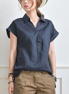 Solid Casual Linen Collar Cap Sleeve Blouses in 2020 Blouse Styles, Blouse Designs, Blouses For Women, Pants For Women, Ladies Blouses, Women's Blouses, Mein Style, Fashion Dresses, Fashion Clothes