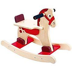 Tooky Toy - Caballito balancín de madera Wood Rocking Horse, White Wood, Rocking Chairs, Toys, Furniture, Bebe