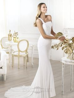 One-shoulder Asymmetric Draped Bodice Wedding Dresses with Flared Skirt