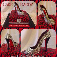 Custom blinged red bottom stiletto shoe on top of cheetah print birthday cake.